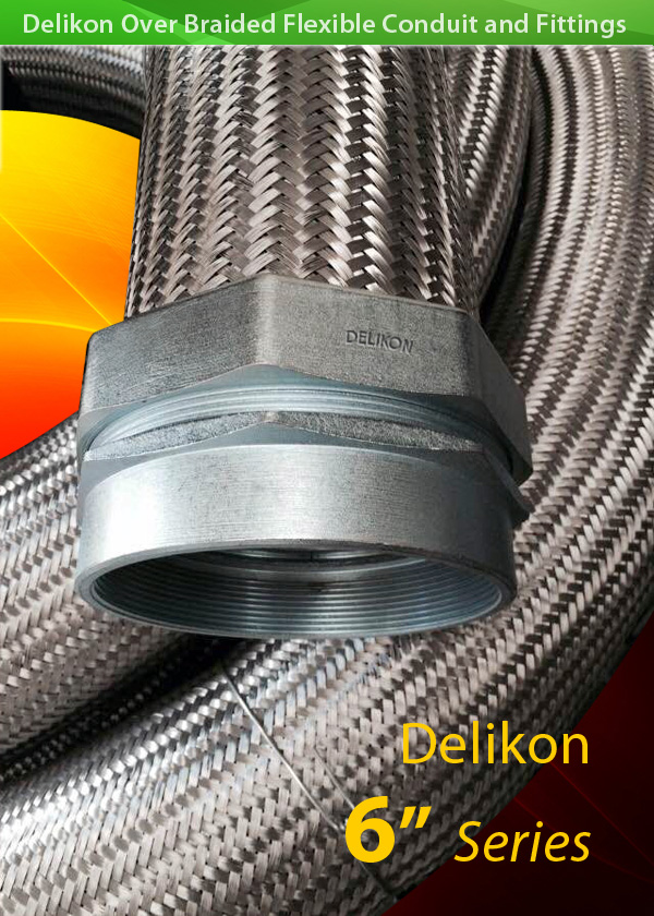HIGH TEMPERATURE HEAVY SERIES over Braided Flexible Metal Conduit for steel mill cable retrofit