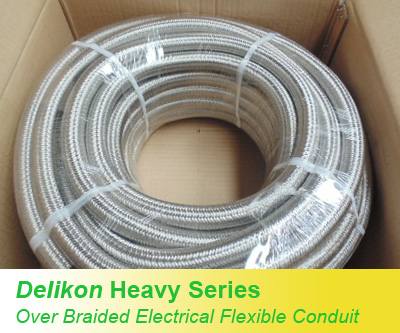 Heavy Series Over Braided Flexible Conduit and Heavy Series Conduit Fittings are specially designed for protecting electric and automation cables from the harsh environments found in steel mills, coke plants and glass manufacturing