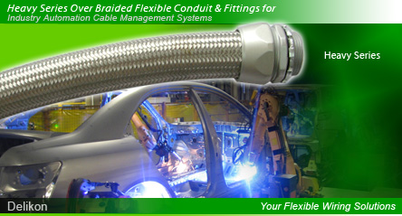 Delikon Electrical Flexible Conduit, Liquid Tight Conduit, Over Braided Flexible Conduit, and Conduit Fittings provide flexible solution to your demanding wiring applications.