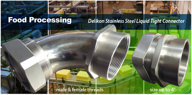 Delikon Stainless Steel Liquid Tight Connector, Liquid Tight Conduit for food processing industry