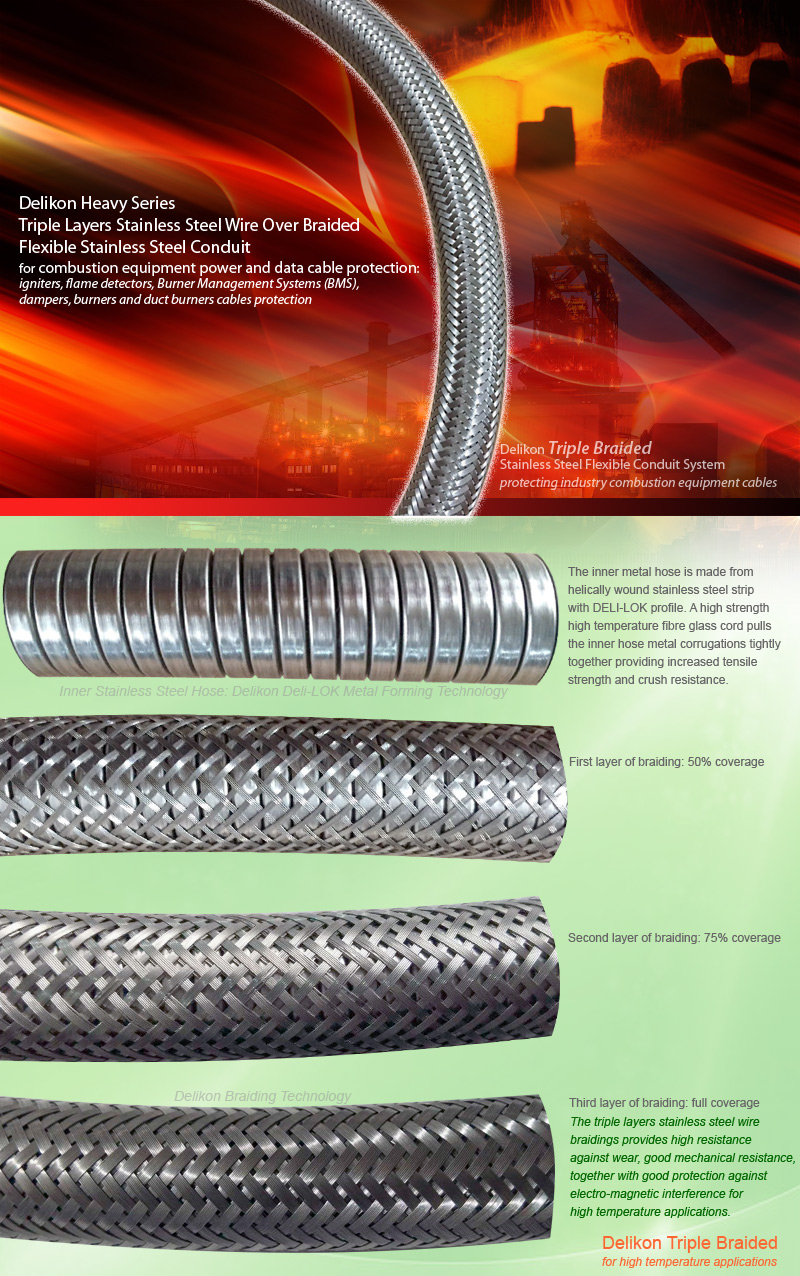 Delikon Triple Layers Stainless Steel Wire Over Braided Flexible Stainless Steel Conduit system provides protection for combustion equipment power and data cable: igniters, flame detectors, Burner Management Systems(BMS), and Combustion Control System (CCS) cables. This heavy series over braided flexible stainless steel conduit is a reliable protection sheath for flame detector flexible fiber optic assembly.