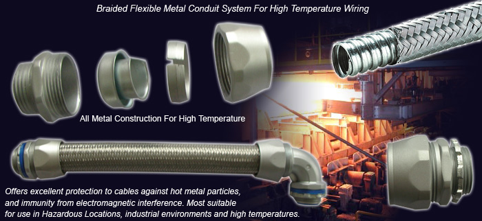 Overbraided Flexible Metal Conduit and Conduit Fittings For High Temperature Wiring