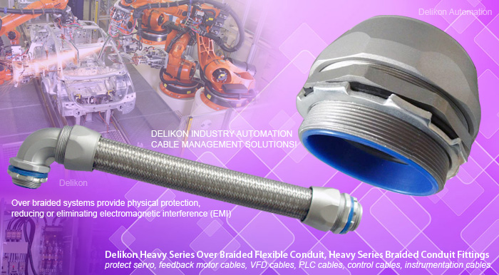 Delikon Heavy Series Over Braided Flexible Conduit, Heavy Series Braided Conduit Fittings protect servo, feedback motor cables, PLC cables, control cables, instrumentation cables. Reducing or eliminating electromagnetic interference (EMI) for cables. Delikon heavy series over braided flexible conduit and connector are particularly recommended for protecting supply cables between frequency converters and servo motors.